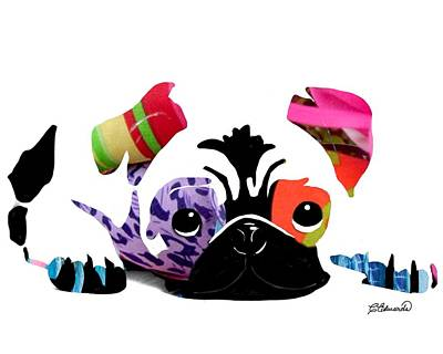 Pug Pup Art Print by Cindy Edwards