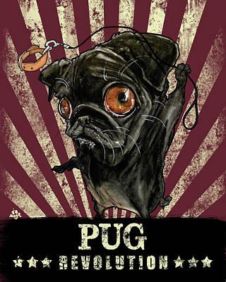 Drawing - Pug Revolution by John LaFree
