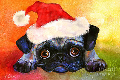 Watercolor Pet Portraits Painting - Pug Santa Portrait by Svetlana Novikova