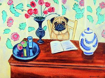 Education Painting - Pug Scholar by Lyn Cook