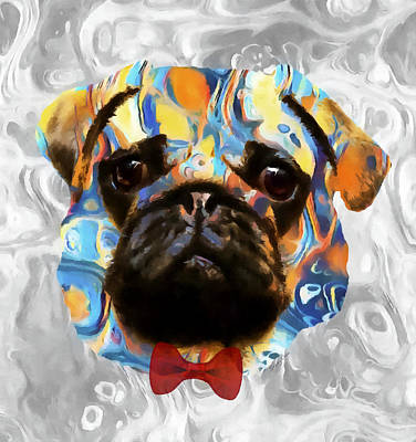 Watercolor Pet Portraits Mixed Media - Pug by Stacey Chiew