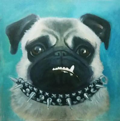 Wall Art - Painting - Pug Thug by Alison Stafford