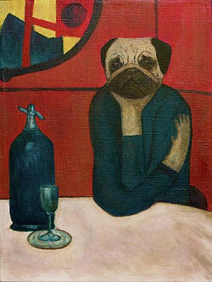 Pugasso - Absinth Lover. Pug. Dog Portrait Original