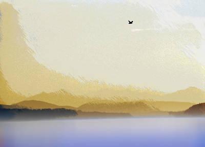 Puget Sound - Sunset Mist  Art Print by Steve Ohlsen