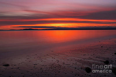 Skylines Royalty-Free and Rights-Managed Images - Puget Sound Burning Skies Sunset Reflection Serenity by Mike Reid