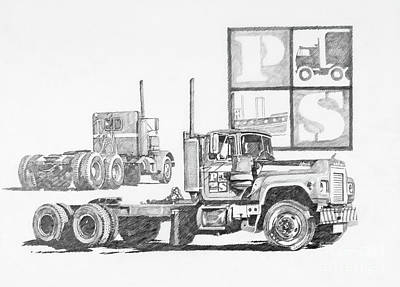 Drawing - Puget Sound Freightlines by James Williamson