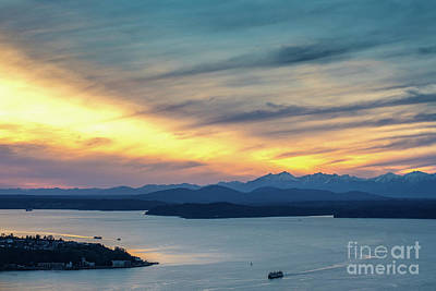 Photograph - Puget Sound Sunset Evening by Mike Reid