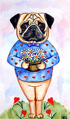 Folk Art Painting - Pugfully Yours - Pug by Lyn Cook