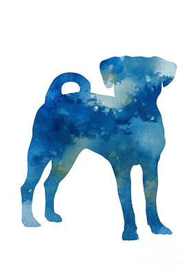 Puggle Painting - Puggle Abstract Dog Watercolor Poster by Joanna Szmerdt