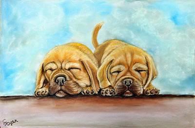 Wall Art - Painting - Puggle Puppies Napping by Carol Iyer