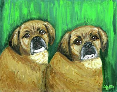 Puggle Painting - Puggles Bruno And Louie by Ania M Milo