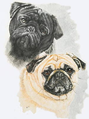 Toy Breeds Painting - Pugs by Barbara Keith