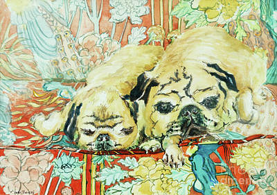 Watercolor Pet Portraits Painting - Pugs On A Chinese Print Sofa by Joan Thewsey