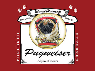 Food And Beverage Drawings - Pugweiser Beer by John LaFree