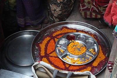 Puja Photograph - Puja Platter, Yamuna River, Vrindavan by Jennifer Mazzucco