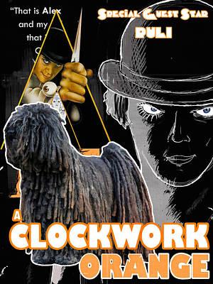 Painting - Puli Art Canvas Print - A Clockwork Orange Movie Poster by Sandra Sij