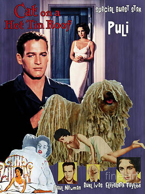 Painting - Puli Art Canvas Print - Cat On A Hot Tin Roof Movie Poster by Sandra Sij