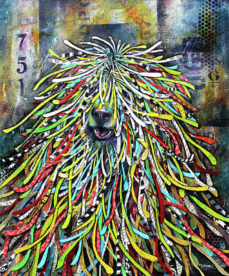 Mixed Media - Hungarian Sheepdog by Patricia Lintner