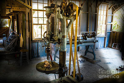 Machine Photograph - Pulley And Belt Driven Drill Press by J Darrell Hutto