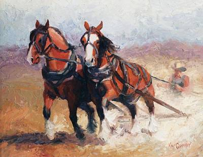 Horse Painting - Pulling Contest Clydesdales Draft Horse Paintings by Kim Corpany
