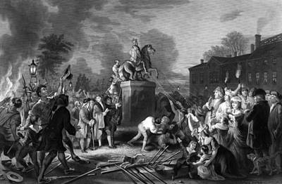 Landmarks Painting Royalty Free Images - Pulling down the statue of George III Royalty-Free Image by War Is Hell Store