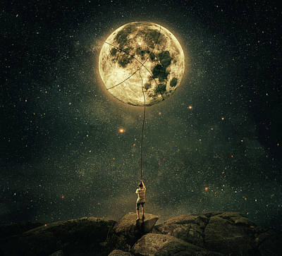 Recently Sold - Surrealism Digital Art Rights Managed Images - Pulling Moon Royalty-Free Image by PsychoShadow ART