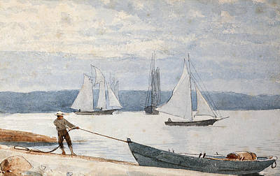 Sailboat Ocean Drawing - Pulling The Dory by Winslow Homer