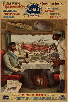 Dine Mixed Media - Pullman Compartment Cars Dining Cars Vintage Train Poster by Design Turnpike