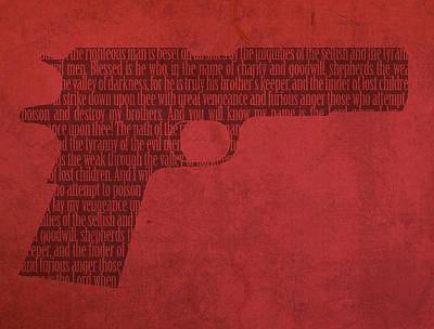 Pulp Fiction Quote Typography In Gun Silhouette Art Print