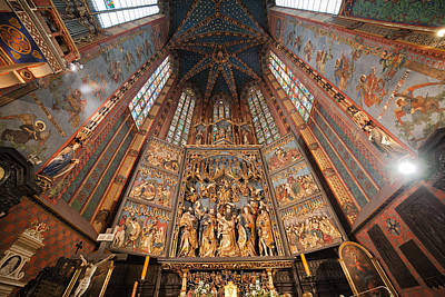 Medieval Temple Photograph - Pulpit In St. Mary's Basilica Interior In Krakow by Artur Bogacki
