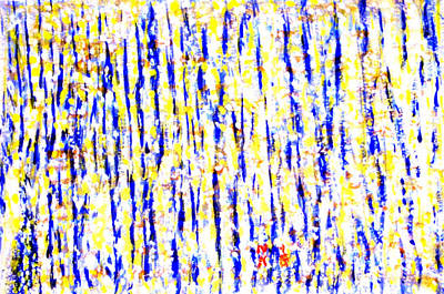 Painting - Pulsating Yellow And Blue In Orange Backdrop by Naini Kumar