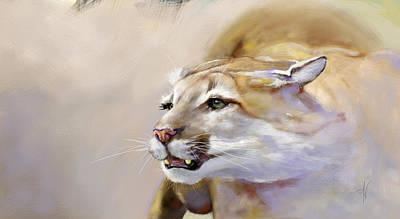 Puma Digital Art - Puma Action by Arie Van der Wijst