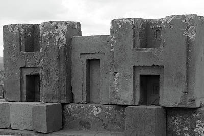 Photograph - Puma Punku H Blocks, Bolivia by Aidan Moran