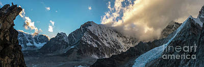 Photograph - Pumori  And Changri Peak  Panorama by Mike Reid