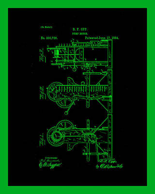 Benjamin Franklin Mixed Media - Pump Motor Patent Drawing 1a by Brian Reaves