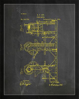Benjamin Franklin Mixed Media - Pump Motor Patent Drawing 1b by Brian Reaves