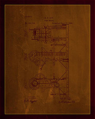 Benjamin Franklin Mixed Media - Pump Motor Patent Drawing 1d by Brian Reaves