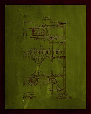 Benjamin Franklin Mixed Media - Pump Motor Patent Drawing 1e by Brian Reaves