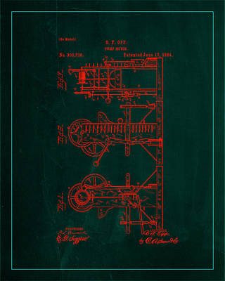 Benjamin Franklin Mixed Media - Pump Motor Patent Drawing  by Brian Reaves