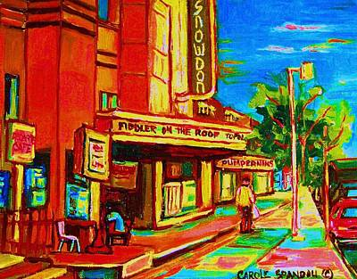 Decarie Painting - Pumperniks And The Snowdon Theatre by Carole Spandau