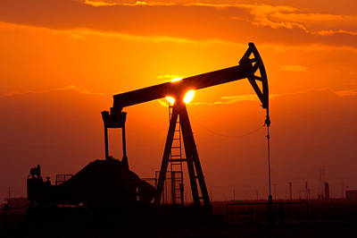 Environment Photograph - Pumping Oil Rig At Sunset by Connie Cooper-Edwards