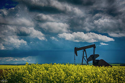 Photograph - Pumpjack In The Canola by Philip Rispin