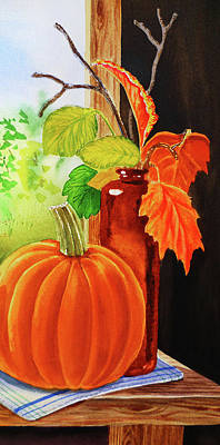 Painting - Pumpkin And Fall Leaves by Irina Sztukowski