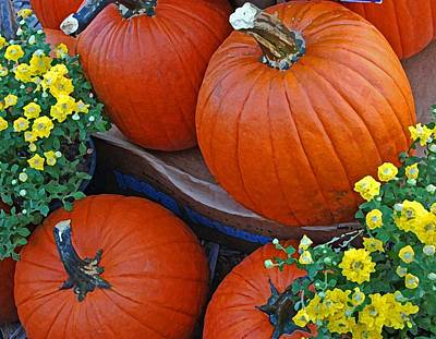 Photograph - Pumpkin And Flowers by Michael Thomas