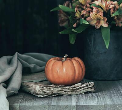 Pumpkin And Flowers Still Life Art Print