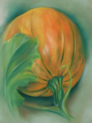 Pastel - Pumpkin And Leaf by MM Anderson
