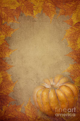 Pumpkin And Maple Leaves Art Print by Jelena Jovanovic