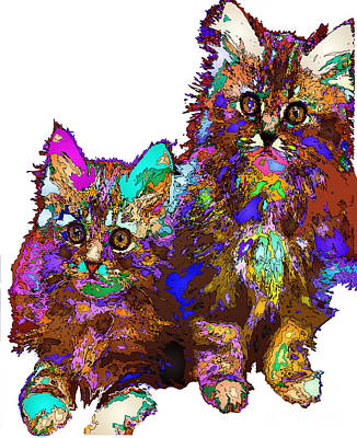Digital Art - Pumpkin And Sophie. Pet Series by Rafael Salazar