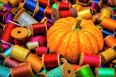 Photograph - Pumpkin And Spools Of Thread by Garry Gay