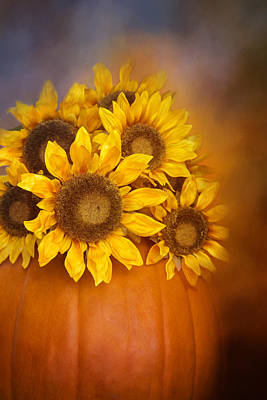 Photograph - Pumpkin And Sunflowers by Lynn Bauer